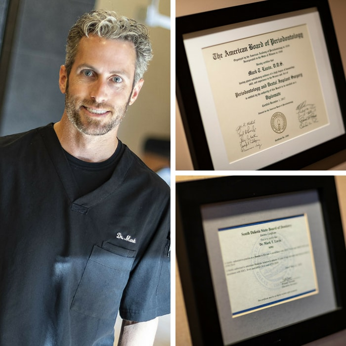 Dr. Mark Lavin with his board-certified periodontist certificates.